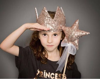 Rose Gold Sequin Crown - pretend play, dress up, princess