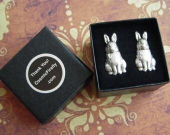 Silver Rabbit Cufflinks Antiqued Silver Cufflinks Men's Cufflinks Men's Gifts Bunny Cufflinks