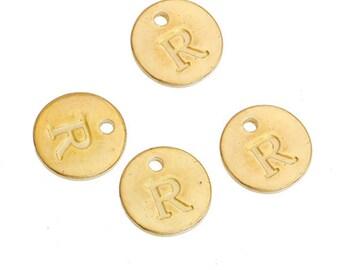 Letter R - 12mm Golden gold pendant