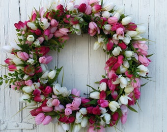 Pink Tulip Wreath, Spring Tulip Wreath, Spring Wreath, Easter Wreath, Mother's Day, Front Door Wreath, Spring Tulips, Spring Decor, Wreaths