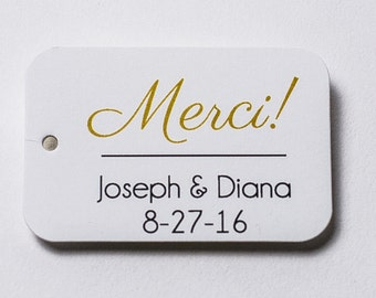 Merci! Wedding Tags, Wedding Favor Thank you Tags, Small Wedding Favor Tags (RR-040)