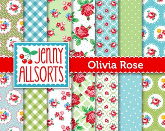 Shabby Chic Digital Paper Olivia Rose - Aqua, Lime and pink - for invites, card making, digital scrapbooking