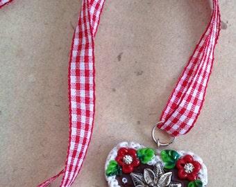 Necklace Heart Edelweiss red, big Gingerbread-heart, Octoberfest