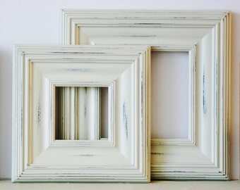 Sizes 12x16 to 16x20 Wood Picture Frame / Vintage White or Blue / Whistler Style