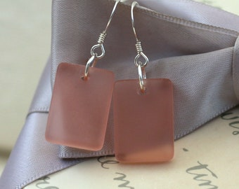 Recycled Glass earrings - Peachy Pink with Sterling earwires
