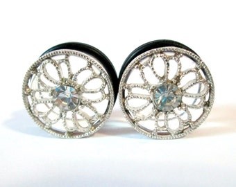 Single Rhinestone Silver Filigree Flower Plugs- Available in 9/16 in, and 5/8 in.
