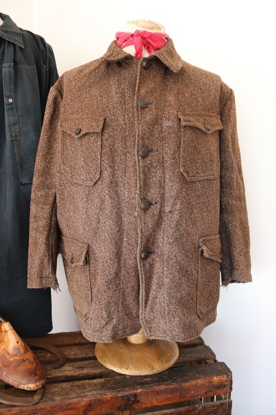 "Vintage 1950s 50s french Pascal wool tweed hunting jacket spaniel buttons workwear work 49"" chest"