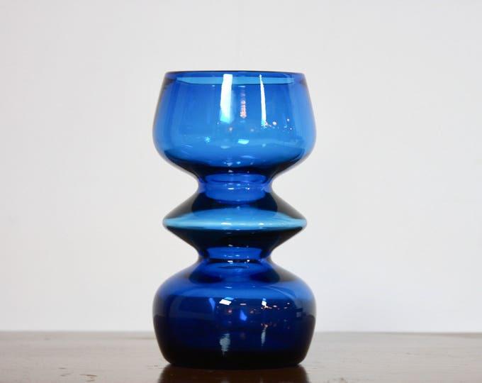BLUE BLENKO GLASS Vase Mid Century Modern