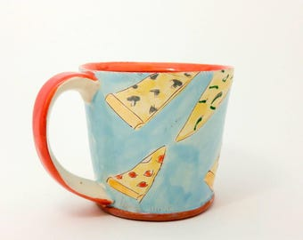 Pizza themed Earthenware mug. Wheel thrown, food safe mug by Kaitlyn Brennan/Brennan pottery. This is a big handmade mug perfect for coffee