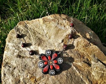 Flower necklace red and black with beads made of polymer clay