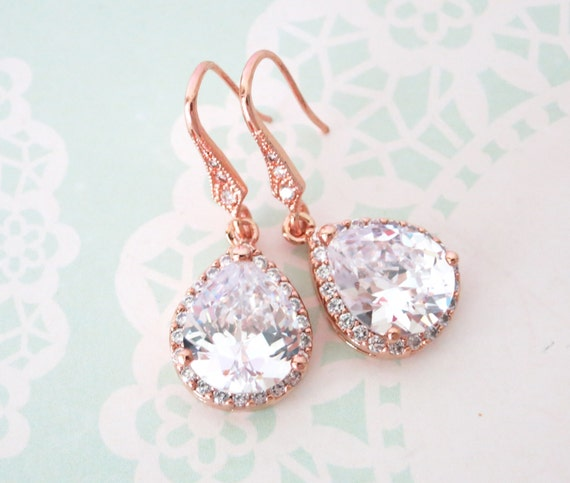 Rose Gold Luxe Cubic Zirconia Teardrop Earrings - earrings, bridal brides gifts, dangle, pink rose gold weddings, bridesmaid earrings