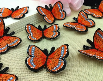10pcs 3.5x4.5cm wide orange butterflies pocket embroidered appliques patches 32f578 free ship