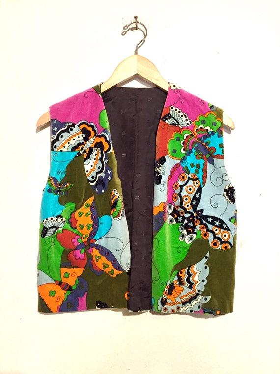 60s Vintage Vevet Psychedelic Butterfly Vest