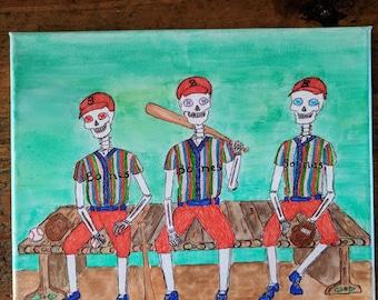 Skeleton Baseball Team Original Canvas Art Indie Goth Unique Fun