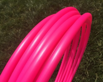 "Metallic Strawberry 5/8"" HDPE Dance & Exercise Hula Hoop COLLAPSIBLE push button - neon pink minis"