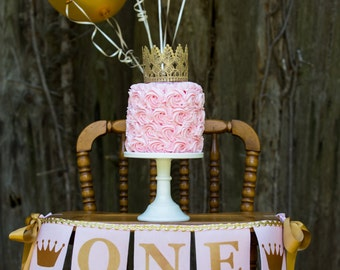 PINK and GOLD HIGHCHAIR Banner / Pink and gold first birthday / First birthday banner / 1 year old birthday girl / High chair banner. One