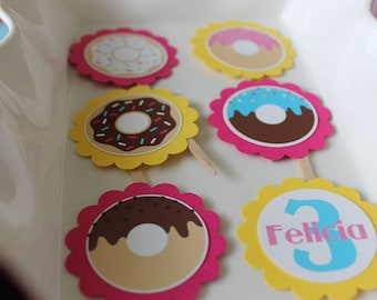 Donuts cupcake toppers set of 12