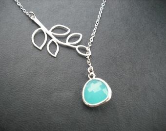Sterling Silver Chain - five leaf branch and aqua blue glass briolette lariat
