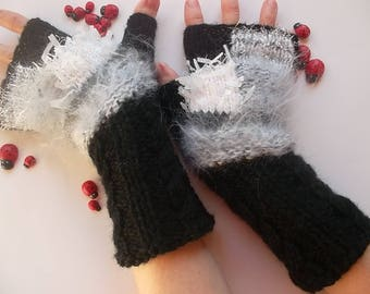 Women M 20% OFF OOAK Gloves Fingerless Accessories Mittens Wrist Warmers Hand Knitted Winter Crochet Ready To Ship Romantic Gift Cabled 1206