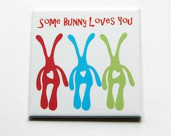 Easter Magnet, Bunny Magnet, Some bunny loves you, Kitchen Magnet, Fridge magnet, Magnet, easter bunny, easter gift, Square Magnet (5419)