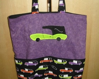 Hearse Funeral Car Halloween Tote, Grocery bag or TRICK or TREAT BAG