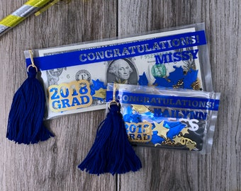 Graduation Gift Money Holder, Custom Blue and Gold Graduation Gift Card Holder, Graduation Card, Blue and Gold Graduation Gift