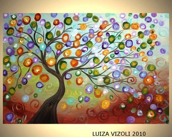 Original Contemporary Abstract Tree Landscape Oil Painting ONE MOMENT in TIME by Luiza Vizoli