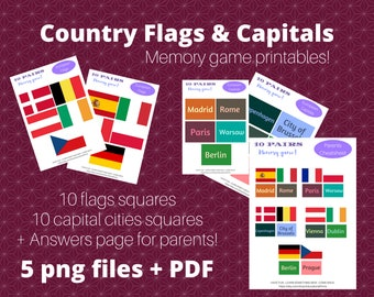 Educational printable memory card game for kids- learn about countries, flags and capitols!, Trivia memory card game, Flags educational toys