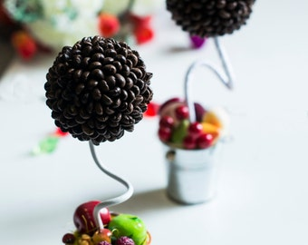 Topiary, coffee tree, fruit topiary, decorations in the kitchen, fruit decor, topiary with fruit vegetables and mushrooms.