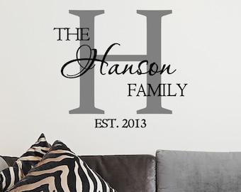 Custom Family Name & Monogram Vinyl Decal - Monogram Vinyl Wall Art Decal, Family Name Vinyl, Personalized Vinyl, Home Decor, Family, 11x11