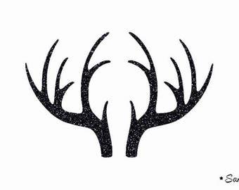 wood deer Elk deer reindeer applique black paillete flex