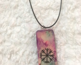 Painted Vegvisir Domino Necklace