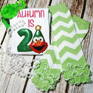 Shirt - personalized for birthday with name and number - Elmo party hat - boy or girl