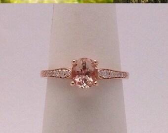 1 Carat Morganite Rose Gold Ring - Solitaire with Diamonds 14K Engagement Wedding Ring