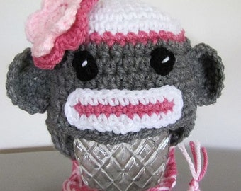 sock monkey hat for newborn (0-3 mon) with pink