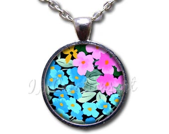 Pansy Flower Pattern Glass Dome Pendant or with Chain Link Necklace NT176