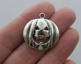 BULK 30 Halloween pumpkin charms antique silver tone HC180