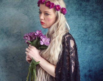 Purple mini flower hairband,  flower crown, rose headband