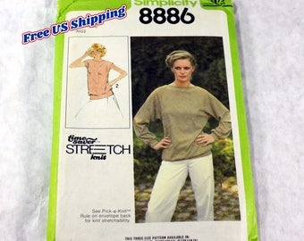 Women's Pullover Top Sewing Pattern, Size 12, 14, 16, Uncut and Complete with Instructions, Simplicity 8886, Time Save Stretch Knit