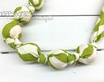 Organic Cotton Nursing Teething Necklace, Apple Green Chevron