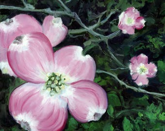 Limited Edition Fine Art Print of Original Oil Painting by L Donaghey - Pink Dogwood Flower  - Giclee
