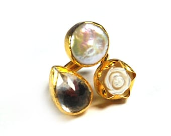 White Rose Ring, sterling silver coated 18K gold vermeil, white rose mother of pearl, clear quartz, big white pearl, big white ring, gift