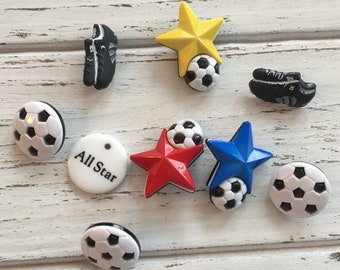 SALE Soccer Buttons, Packaged Novelty Button Assortment, Style 4068 by Buttons Galore, Includes Balls Shoes and More