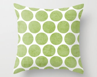 Green Dots Throw Pillow - Geometric Pillow - Modern Decor - Throw Pillow - Urban Decor - by Beverly LeFevre