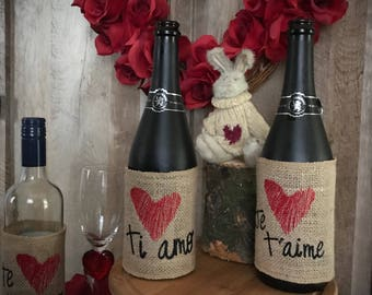 Romance burlap wine wraps