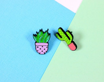 Lilac & Pink Cactus Duo Pin Set // clutch back // lapel pins, succulent, cactus // EP124