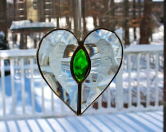 Beveled Stained Glass Heart, Green Jewel, Sun-catcher, Clear Glue Chip, Hand Crafted and Made in America