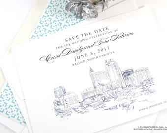 Raleigh Wedding Save the Date Cards, Save the Dates, North Carolina Wedding, Hand Drawn (set of 25 cards)