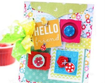 bright happy friendship card-LADY BUGS HELLO friend greeting
