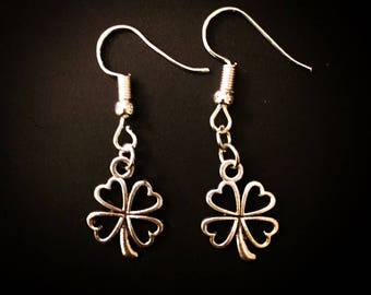 Silver Irish Four Leaf Clover Dangle Hook Earrings